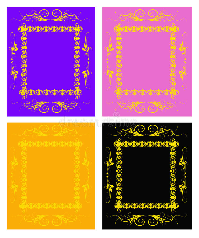 Set Of Golden Floral Frames Royalty Free Stock Photography