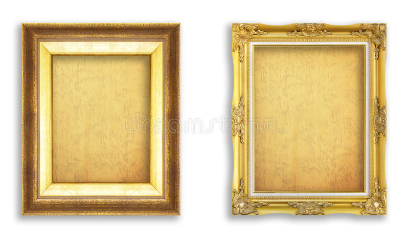 Set golden frame with empty grunge paper for your picture, photo stock photography