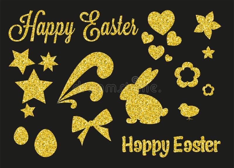 Set of Golden Glitter Easter Decorations stock image