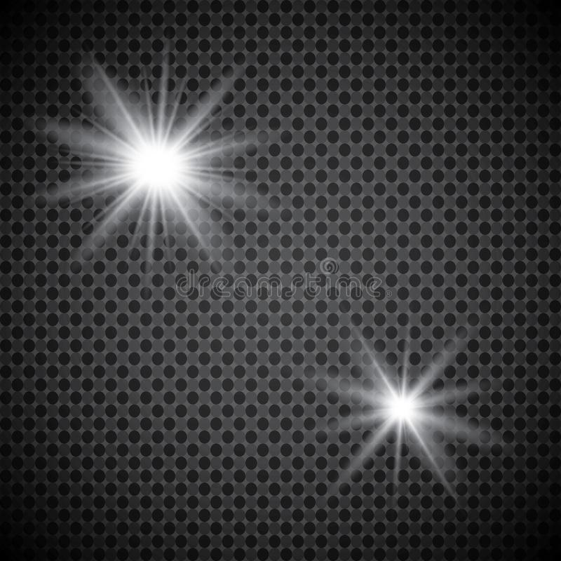 Set of golden glowing lights effects isolated on transparent background. Sun flash with rays and spotlight. Glow light effect. Sta. R burst with sparkles royalty free illustration