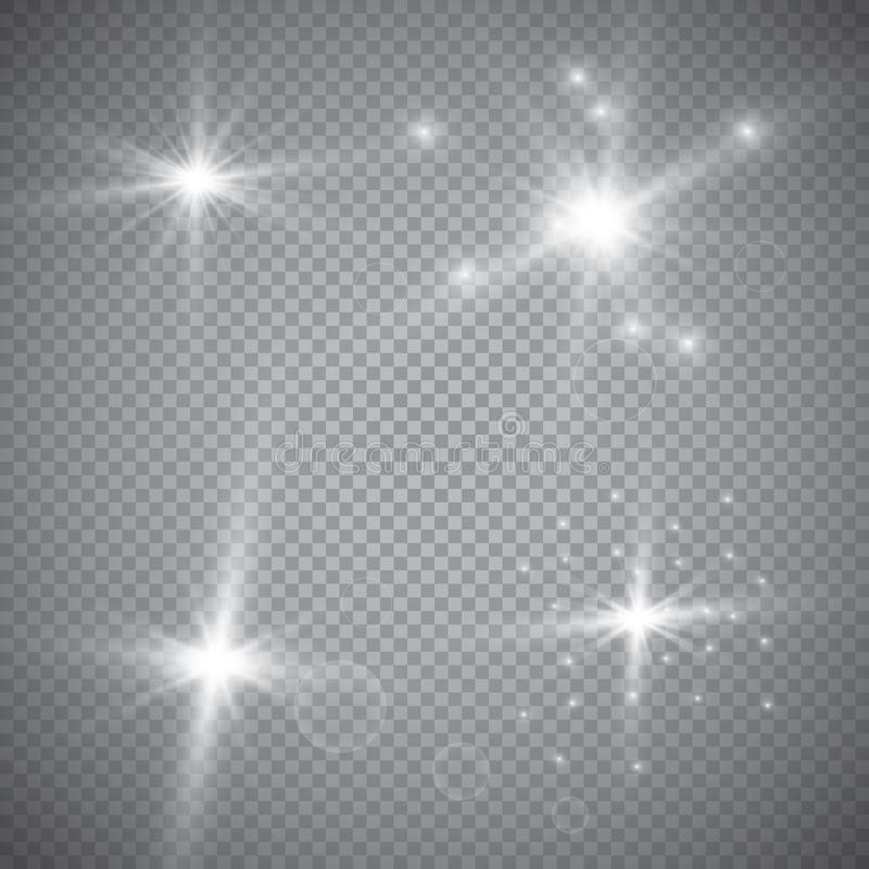 Set of golden glowing lights effects isolated on transparent background. Sun flash with rays and spotlight. Glow light effect. Sta. R burst with sparkles vector illustration