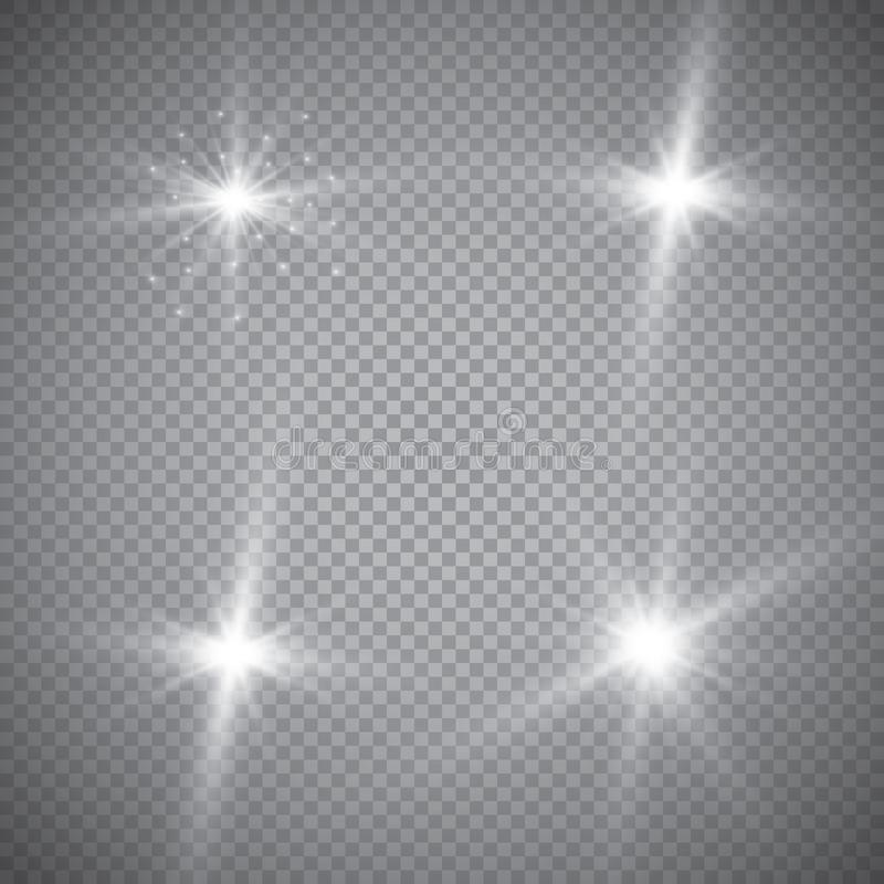 Set of golden glowing lights effects isolated on transparent background. Sun flash with rays and spotlight. Glow light effect. Sta royalty free illustration