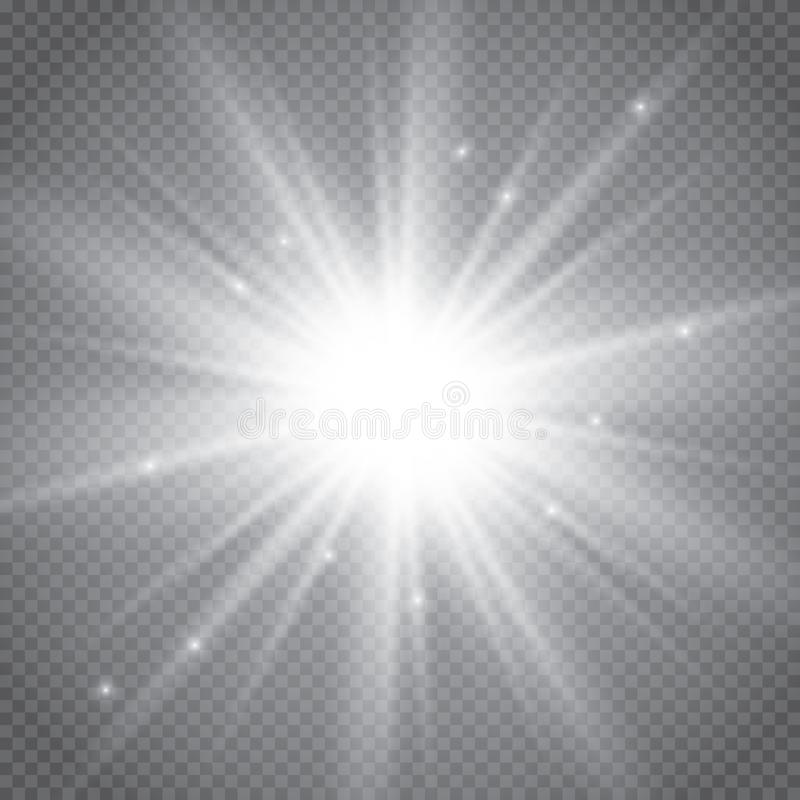 Set of golden glowing lights effects isolated on transparent background. Sun flash with rays and spotlight. Glow light effect. Sta stock illustration