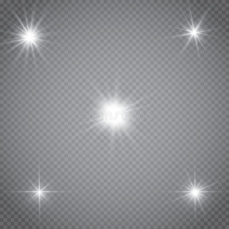 Set of golden glowing lights effects isolated on transparent background. Sun flash with rays and spotlight. Glow light effect. Sta. R burst with sparkles stock illustration