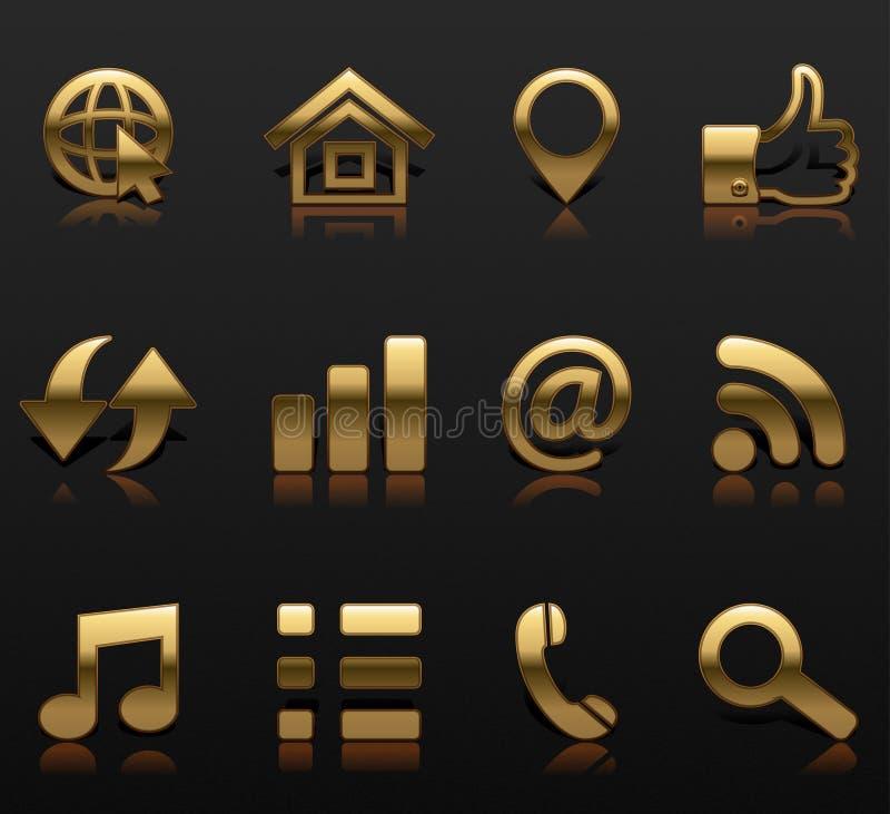 Set golden icons web design sign vector illustration