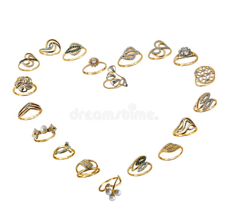 Set of golden jewelry, love royalty free stock photos