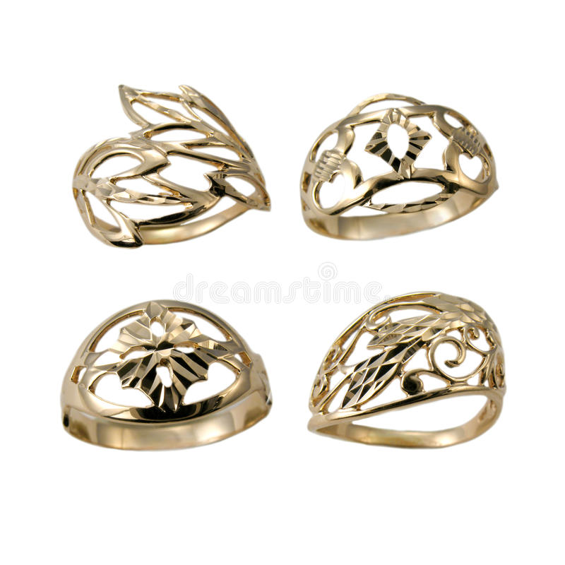 Set of golden jewelry rings royalty free stock photo