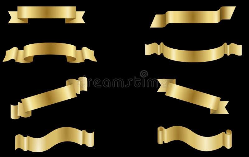 Set golden Label  Banner Ribbon  collection vector illustration