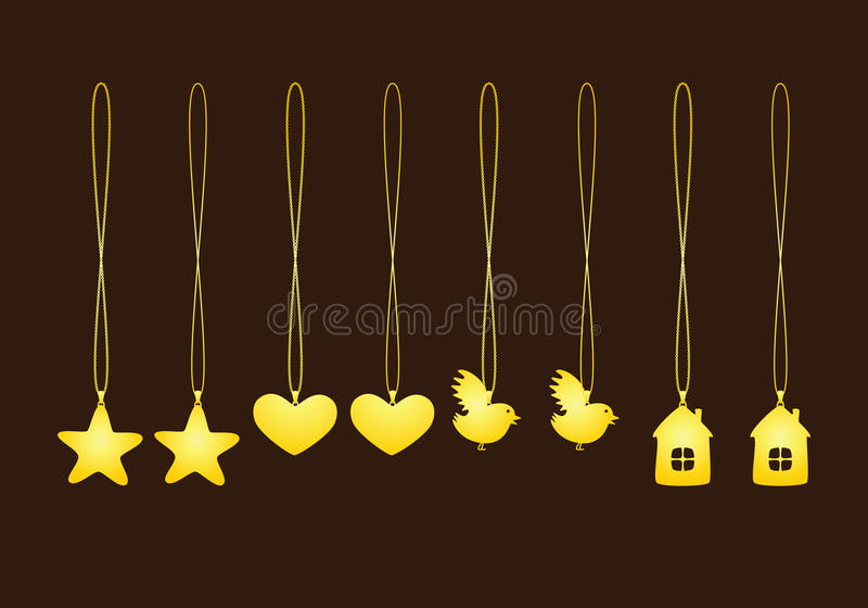 Set of golden pendants vector illustration