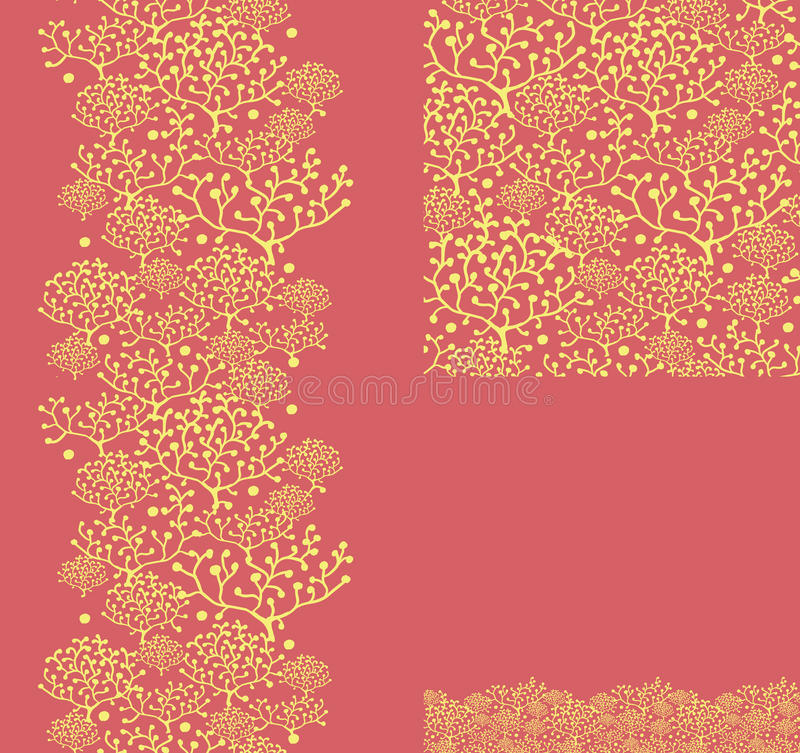 Set Of Golden Plants Seamless Pattern And Borders Stock Photo