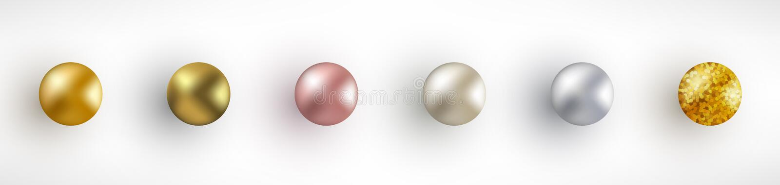 Set of Golden Realistic Balls royalty free illustration