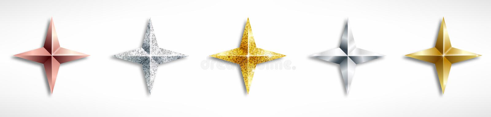 Set of Golden Realistic stars stock illustration