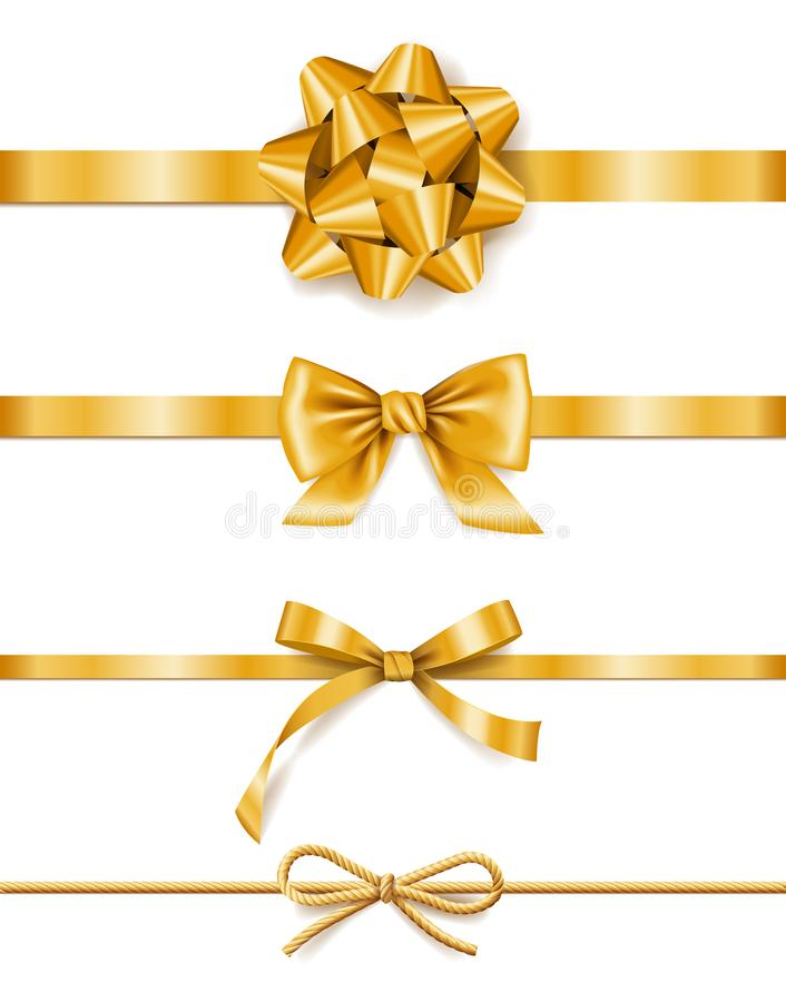 Set of golden ribbons with bows, decoration for gift boxes, design element stock illustration