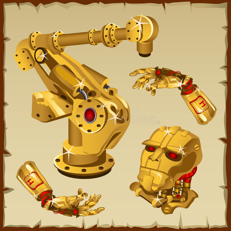 Set of the golden robot parts, arm, head and other vector illustration