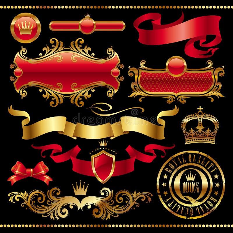 Set of golden royal design elements vector illustration