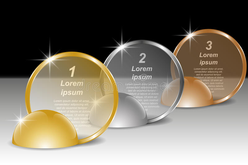 Set of golden, silver and bronze round transparent banners for text. Infographic template vector illustration