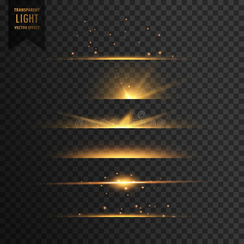 set of golden stars transparent light effect background royalty free illustration