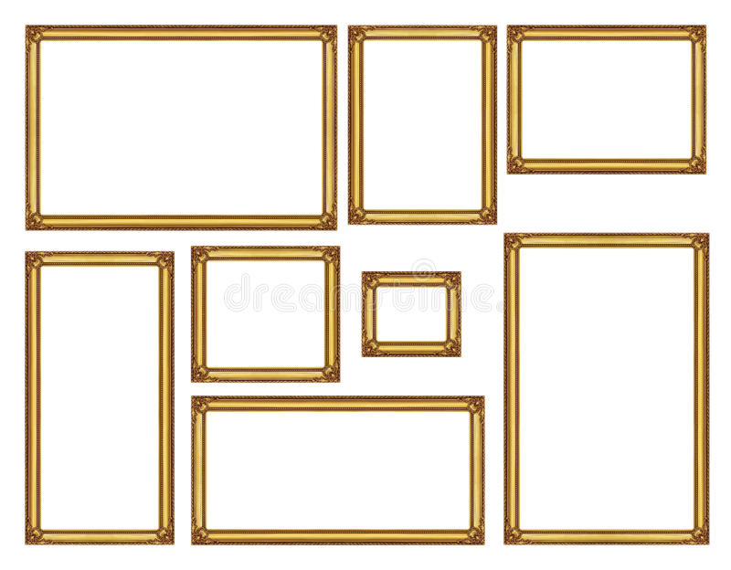 Set of golden vintage frame isolated on white background, with c. Lipping path stock image