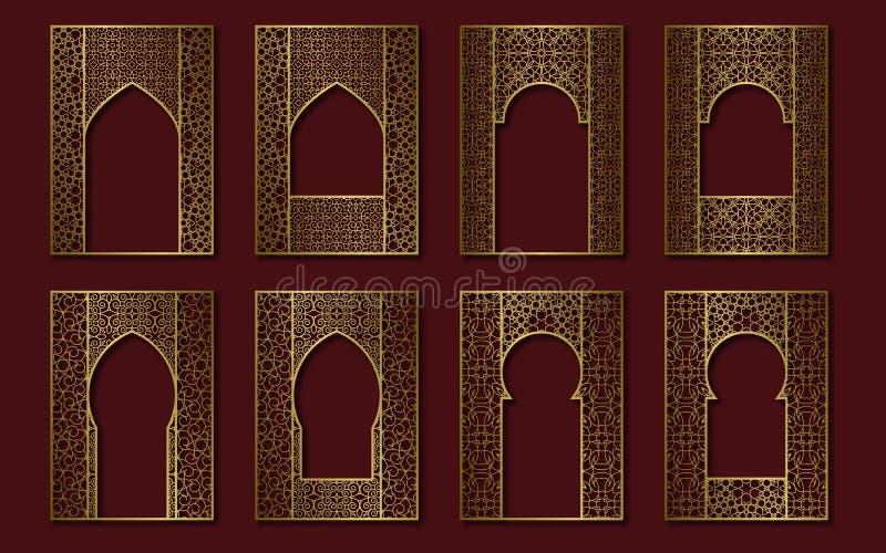 Set of golden vintage frames in form of ornate door and window. Book, booklet, brochure covers, greeting card or leaflet royalty free illustration