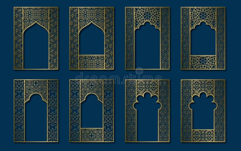 Set of golden vintage frames in form of ornate door and window. Book, booklet, brochure covers, greeting card or leaflet vector illustration