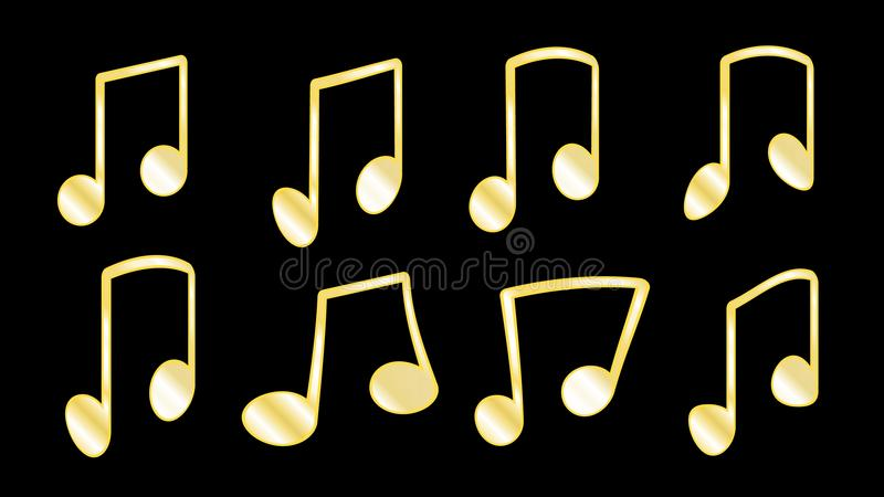 A set of 8 golden yellow ribs or knit, fatty lines that connect the musical notes when grouping notes inside the bars on a black b. Ackground, a set of musical stock illustration