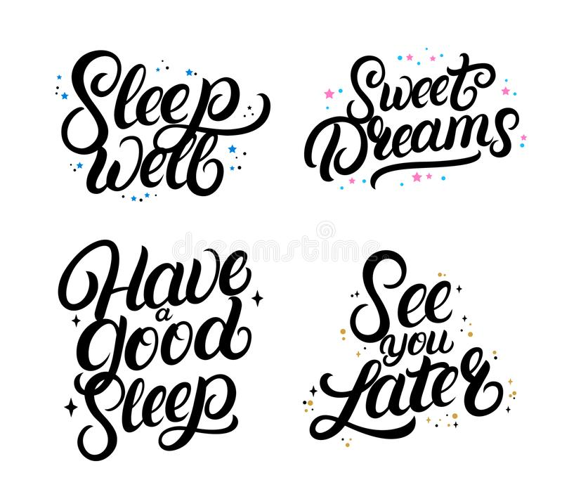 Set of good nigth calligraphy quotes. Sweet dreams. Sleep well. Have a good sleep. See you later. Hand written lettering phrases with stars. Inspirational vector illustration