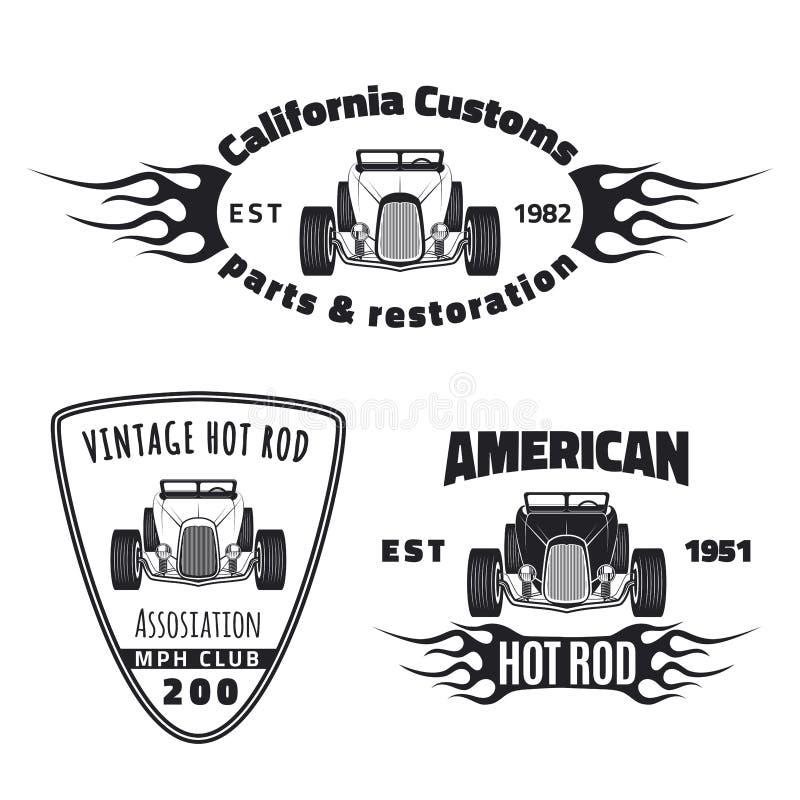Set gorącego prącia emblematy ilustracja wektor