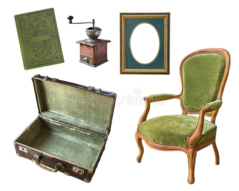 Set of 5 gorgeous old vintage items. Suitcase, book, coffee grinder, frame, chair. Isolated on white background stock photography