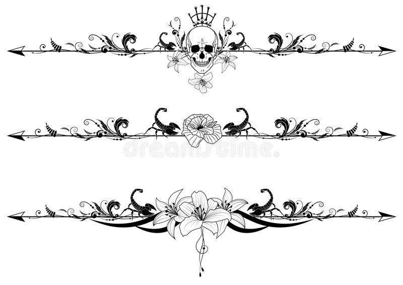 Set of gothic borders stock illustration