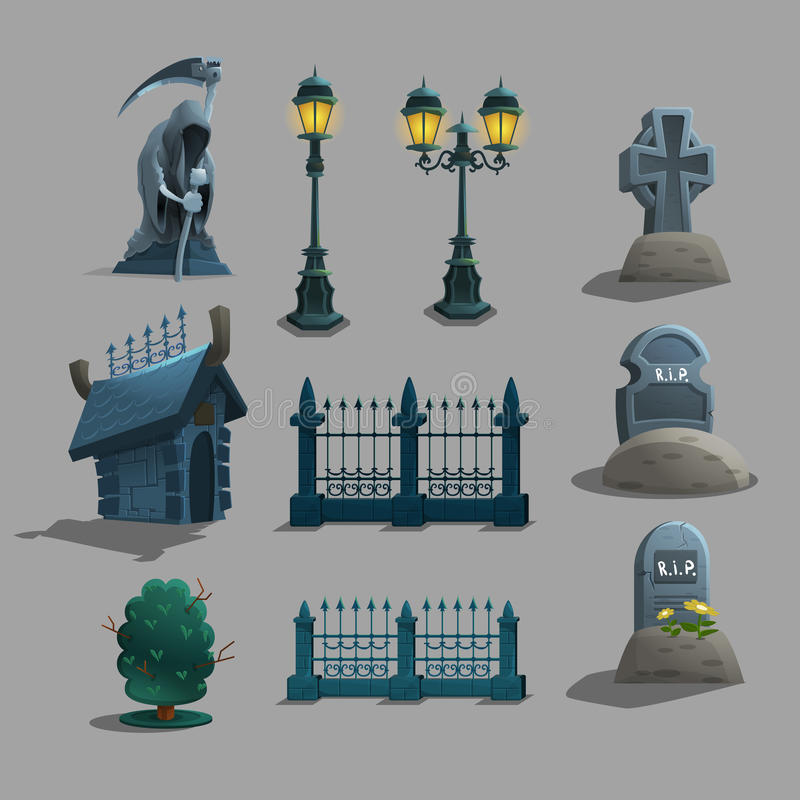 Set gothic cmentarniane dekoracje royalty ilustracja