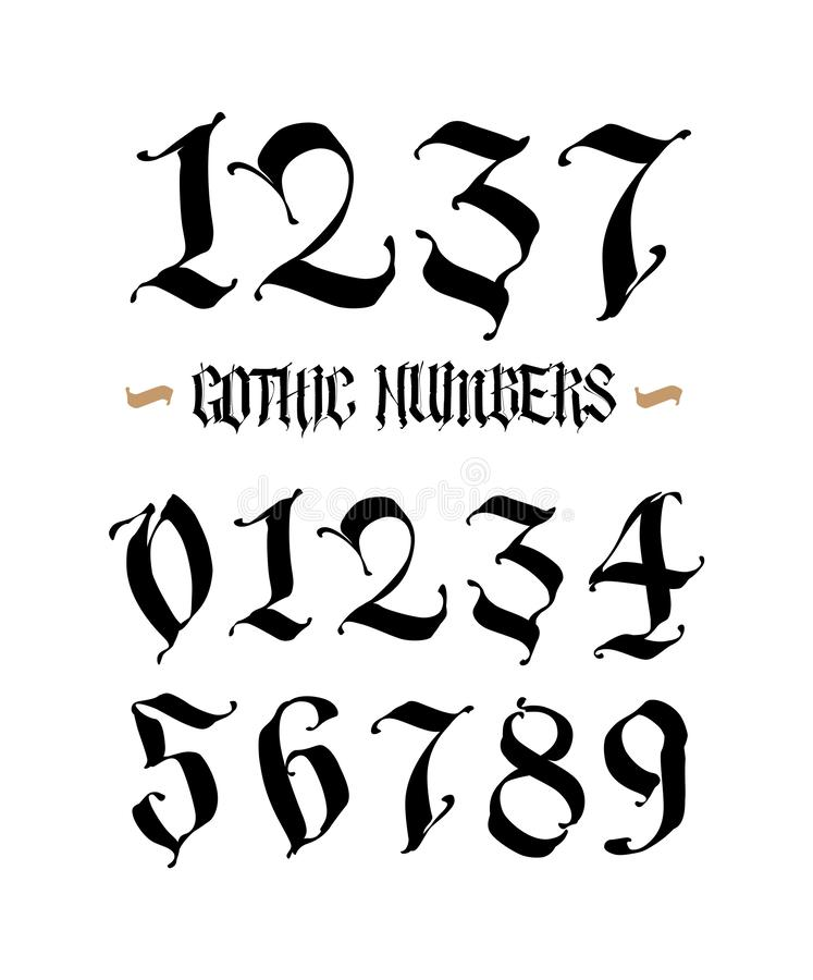 Set of gothic numbers. Vector. Handwritten Latin font. Arabic numerals. All characters separately. Medieval style royalty free illustration