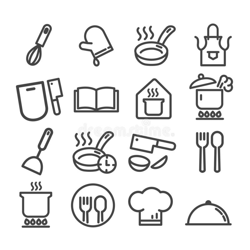 Set gotować minimalne ikony ustawiać odizolowywać Nowo?ytny kontur na bia?ym tle royalty ilustracja