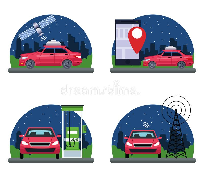 Set of gps location car service concept. With satelite, cellphone and location symbol, gas station and transmition tower in cityscape silhouette icon cartoon vector illustration