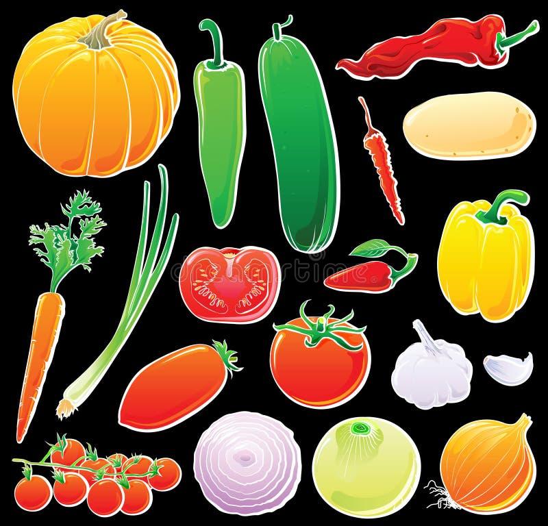 set grönsaker för black vektor illustrationer
