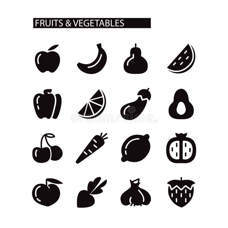 set grönsaker för fruktsymbol vektor illustrationer