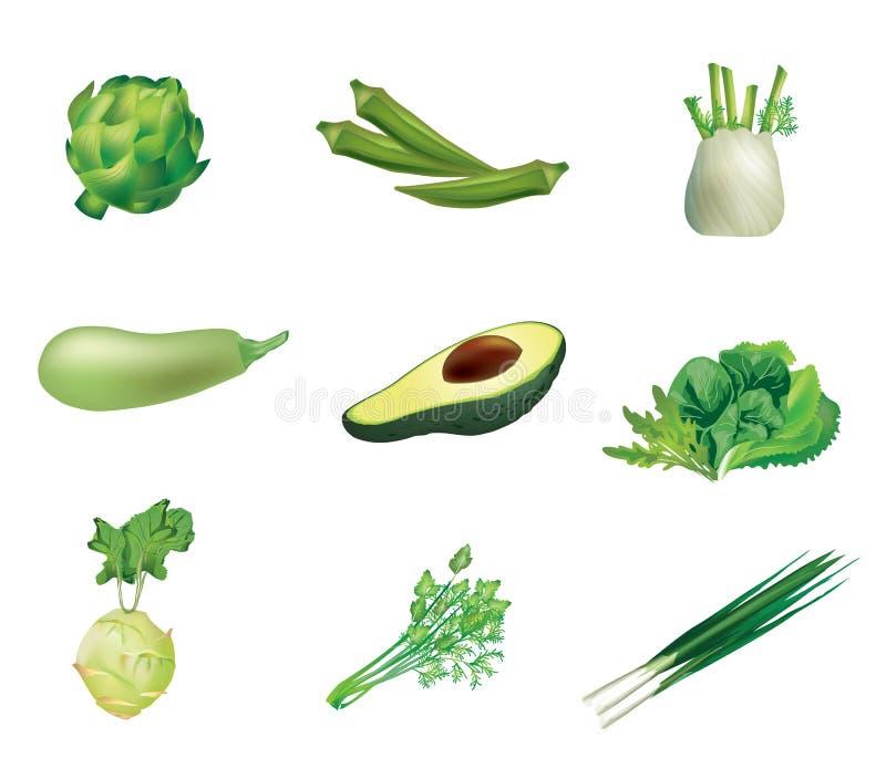 set grönsaker för green royaltyfri illustrationer