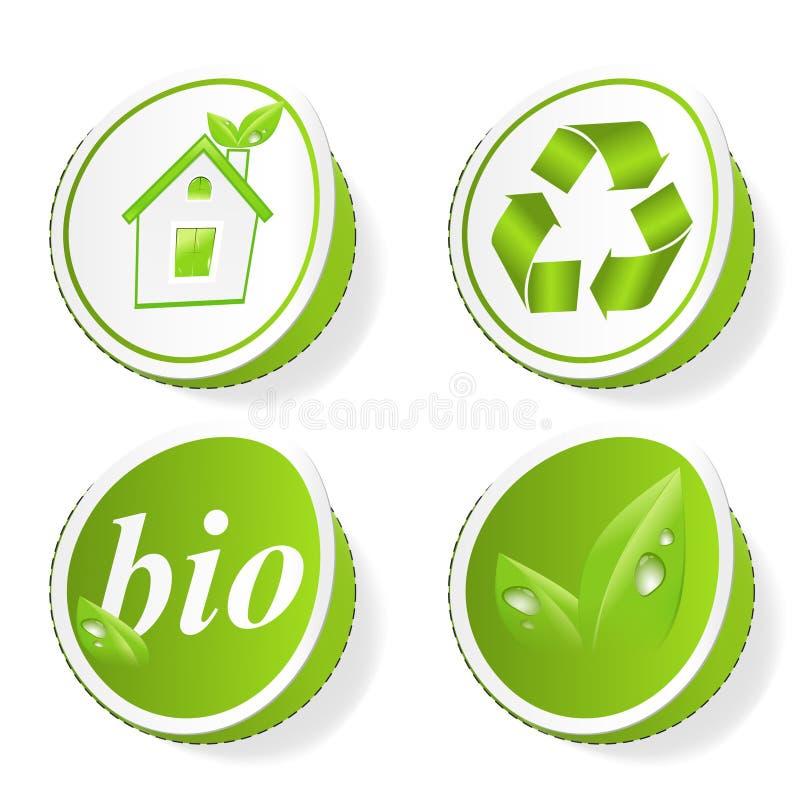 Set grüne Ökologiemarken lizenzfreie abbildung