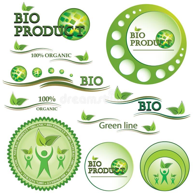 Set grüne Bio- und organische Abzeichen lizenzfreie abbildung