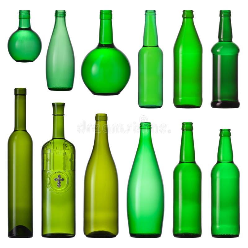 Set grüne Glasflaschen lizenzfreies stockfoto