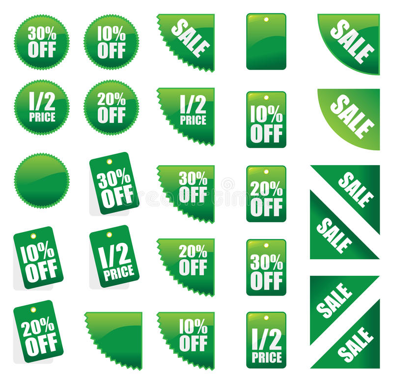 Set grüne Verkaufszeichen vektor abbildung