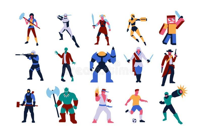 Set gra wideo charaktery Odizolowywający ilustracja wektor