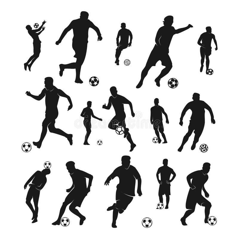 Set gracz futbolu wektor Sylwetka gracz futbolu r?wnie? zwr?ci? corel ilustracji wektora ilustracja wektor