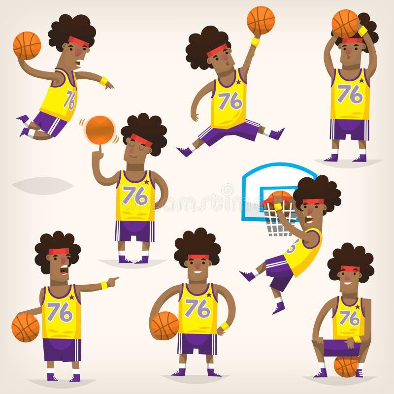 Set gracze koszykówcy na różnych pozycjach obrazy stock