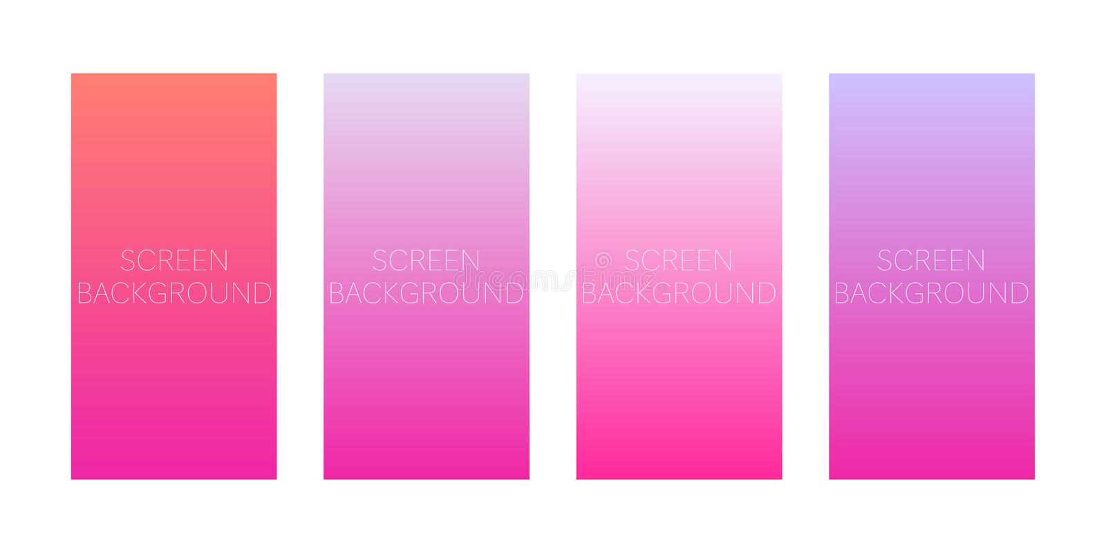 Set of gradient backgrounds for device screen vector illustration