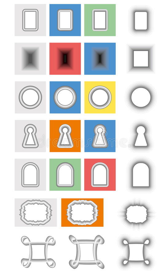 Set gradient frames and keyhole. Set gradient vector frame, holes, keyholes stock illustration