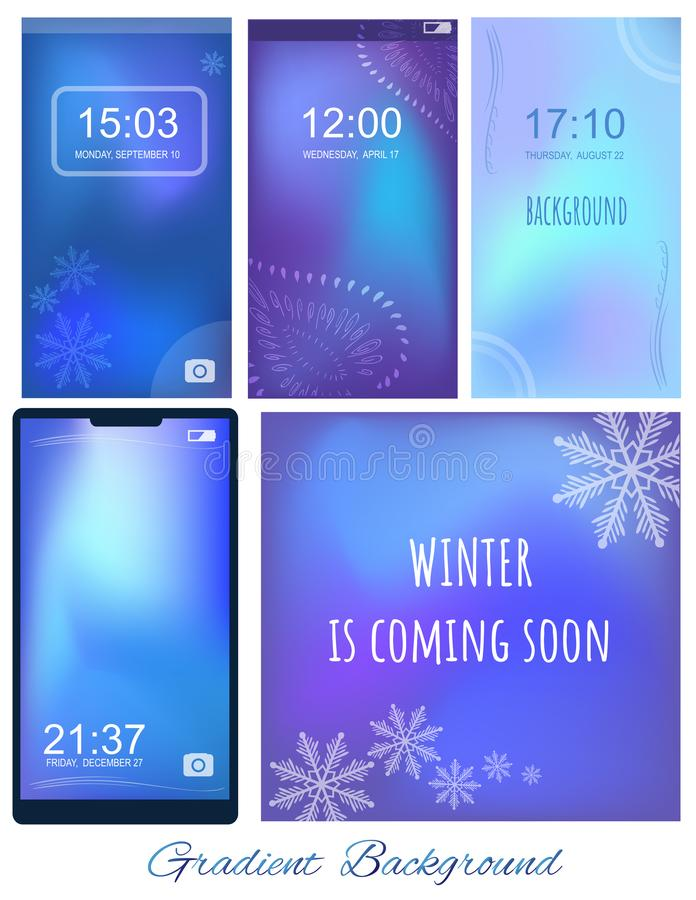 Set of Gradient ultra violet and blue mesh backgrounds with winter themes for screen, wallpaper of mobile. Winter is comming soon. Wise saying, inspiration vector illustration