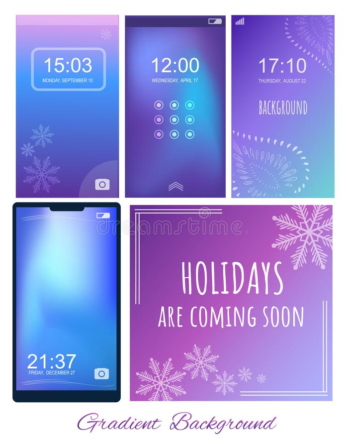 Set of Gradient ultra violet, purple and blue backgrounds with w. Inter themes for screen, wallpaper of mobile. Holidays are coming soon. Wise saying vector illustration