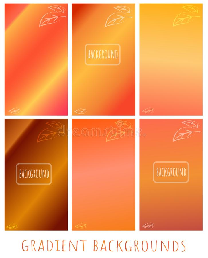Set of Gradient vector backgrounds - Golden autumn - with leave. S. Can use for website, cover, blank, wallpaper, background of a greeting card, presentation royalty free illustration
