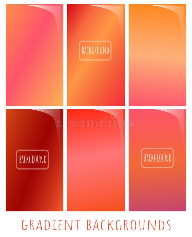 Set of Gradient vector backgrounds - warm late fall colors for. Set of Gradient vector backgrounds - warm late fall colors. Vector gradient backdrop with vector illustration