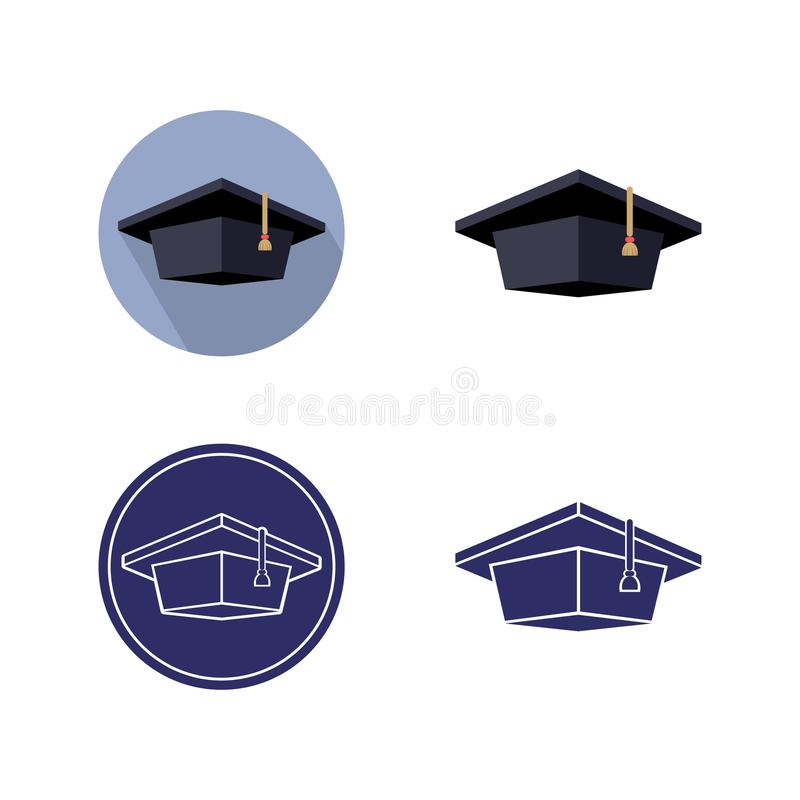 Set of graduate cap, monochrome and colo. R isolated image in a circle and separately, vector illustration stock illustration